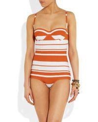 Dolce & Gabbana - Orange Striped Molded Swimsuit - Lyst