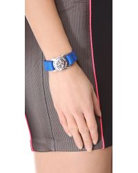 Marc By Marc Jacobs - Blue Large Turnlock Leather Bracelet - Lyst