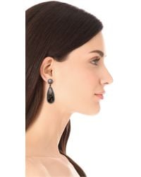 One By - Black Crown Double Drop Earrings - Lyst