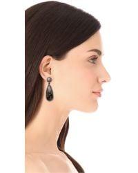 One By - Black Crown Double Drop Earrings - Lyst