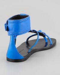 Balenciaga - Blue Arena Brogues Neon Flat Sandal - Lyst