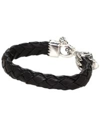 King Baby Studio - Black Leather Bracelet with Small Day Of The Dead Skull Clasp - Lyst