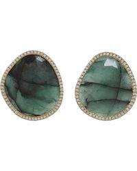 Monique Pean Atelier | Green Diamond Emerald Slice Stud Earrings | Lyst