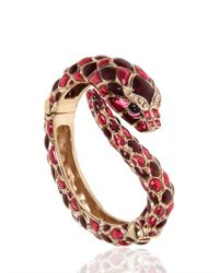 Roberto Cavalli | Pink Snake Swarovski Metal Bracelet | Lyst