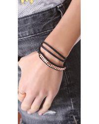 Shashi - Black Nugget Leather Wrap Bracelet - Lyst