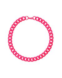 TOPSHOP - Pink Chunky Chain Necklace - Lyst