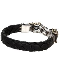 King Baby Studio - Black Leather Bracelet with Mercury Skull Alloy Wings - Lyst
