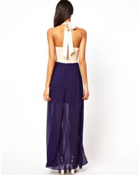Little Mistress - White Halter Maxi Dress with Flower Applique - Lyst