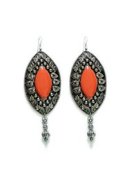 Zara | Metallic Worked Coral Stone Oval Earrings | Lyst