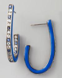 M.c.l  Matthew Campbell Laurenza   Mixed Pave Sapphire J Hoop Earrings Blue   Lyst