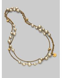 Alexander McQueen - Metallic Long White Freshwater Pearl Skull Necklacegold - Lyst