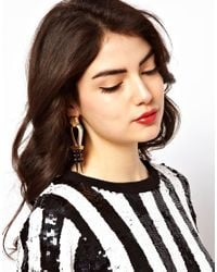 ASOS Collection - Metallic Statement Box Chain Spike Earrings - Lyst