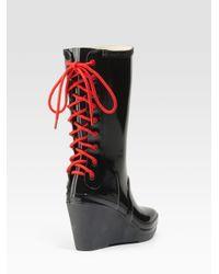 HUNTER - Black Glossy Rubber Wedge Rain Boots - Lyst