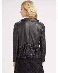RED Valentino | Black Leather Ruffle Jacket | Lyst