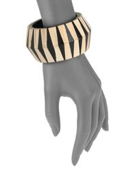 Roberto Cavalli - White Wood Resin Geometric Bangle - Lyst