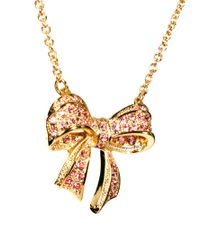 Ted Baker - Pink Pave Crystal Small Bow Necklace - Lyst