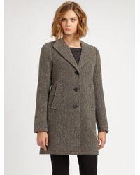 Theory Taidra Tweed Coat in Gray   Lyst