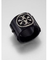 Tory Burch | Black Pavé Crystal Logo Resin Cuff Bracelet | Lyst