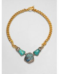 Alexis Bittar | Blue Triple Chrysocolla Chain Link Necklace | Lyst