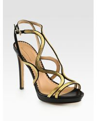 Aquazzura | Black Martini Goldtone Chain Leather Suede Sandals | Lyst