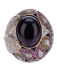Athena - Pink Sapphire And Diamond Robeline Ball Ring - Lyst