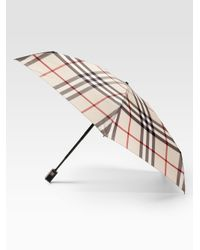 Burberry | Natural Automatic Check Umbrella | Lyst