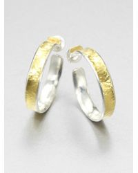 Gurhan | Metallic Hourglass 24k Yellow Gold & Sterling Silver Hoop Earrings/1 | Lyst