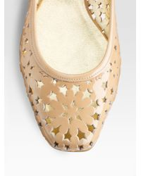 Jimmy Choo | Natural Wand Cutout Patent Leather Ballet Flats | Lyst