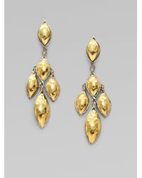 John Hardy | Metallic Leaf 22karat Gold and Sterling Silver Earrings | Lyst