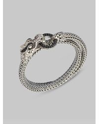 John Hardy | Metallic Black Sapphire & Sterling Silver Double Coil Dragon Bracelet | Lyst