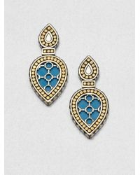 John Hardy | Metallic Turquoise 18k Yellow Gold and Sterling Silver Teardrop Earrings | Lyst