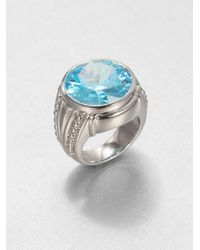Judith Ripka | Sky Blue Crystal Sterling Silver Cocktail Ring | Lyst