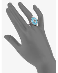 Judith Ripka | Blue Oasis Turquoise, White Sapphire, Crystal & Sterling Silver Oval Cocktail Ring | Lyst