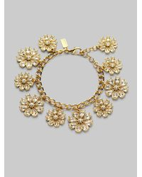 kate spade new york | Metallic Flower Charm Bracelet | Lyst