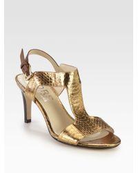 Kors by Michael Kors Xyla Snakeprint Metallic Leather Sandals