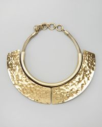 Lanvin - Metallic Hammered Breastplate Necklace - Lyst