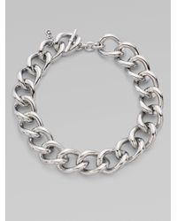 Michael Kors - Gray Silvertone Short Chunky Necklace - Lyst
