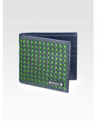 Prada | Blue Intreccio Bi-fold Wallet for Men | Lyst