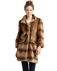 Tahari | Brown Kris Faux Fur Coat | Lyst