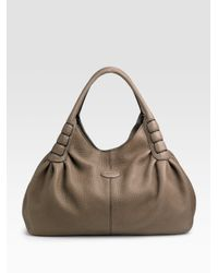 Tod's | Gray Ivy Sacca Media Shoulder Bag | Lyst
