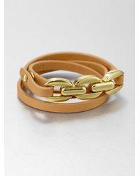 Tory Burch - Brown Triple Wrap Leather Chain Bracelet - Lyst