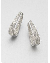 Adriana Orsini | Metallic Crystal Hinged Hoop Earrings/1.25 | Lyst
