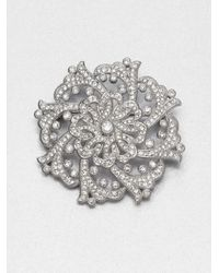Adriana Orsini | Metallic Paveacute Crystal Flourish Pin | Lyst