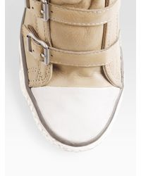 Ash - Natural Thelma Leather Wedge Sneakers - Lyst
