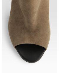 Bottega Veneta - Brown Open-Toe Suede Ankle Boots - Lyst