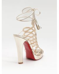 Christian Louboutin - Salsbourg Metallic Leather Strappy Sandals - Lyst