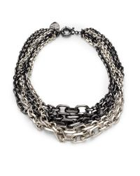Giles & Brother | Black Graduated Chain Necklace | Lyst