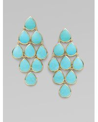 Ippolita | Blue Turquoise 18k Yellow Gold Cascade Earrings | Lyst