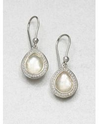 Ippolita - Metallic Stella Mother-of-pearl, Clear Quartz, Diamond & Sterling Silver Doublet Teardrop Earrings - Lyst