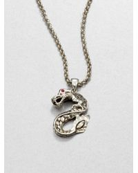 John Hardy | Metallic Sterling Silver and Ruby Dragon Necklace | Lyst